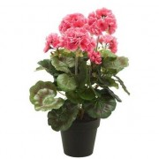 Bellatio flowers & plants Kunstplant Geranium roze in zwarte pot 35 cm