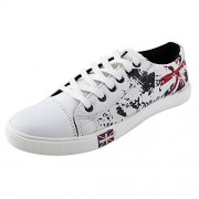 Free Feet White Printed Stylish Lace-up Sneakers Shoes