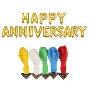 De-Ultimate Set Of HAPPY ANNIVERSARY Letters Foil Balloons 5 LED Flash Lights/Lamp Balloon For Anniversary Party Decor