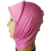 Hijab LIGHT PINK LACE RHINSTONE CANVAS NINJA Under Scarf Ladies Abaya Head Hair Cover Women Tube Cap Burqa Stole Hosiery