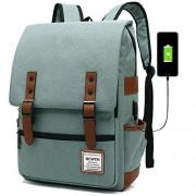 MCWTH T Mochila para portátil de viaje, delgada, durable, con puerto de carga USB, resistente al agua para colegio y estudiante, bolsa de computadora para mujeres y hombres, compatible con portátiles de 15,6 pulgadas y cuaderno, Verde claro, Fits up to 15