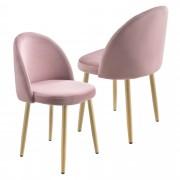 Комплект от 2 броя дизайнерски столове за трапезария [en.casa]® , Розов