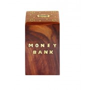 Craft Kings Hand Crafted Wooden Money Bank - Large Piggy Bank - Dolphin Home Decor - Coin Box for Kids & Adult Gifts