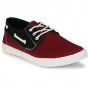 Men's Maroon and Black Lace up Casual Shoe
