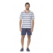 Pijama Masculino Adulto Lua Encantada Camiseta Náutico em Algodão