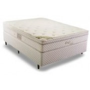 Conjunto Box Colchão Herval Molas Pocket Kings Comfort + Cama Box Courino White - Conjunto Box Queen Size - 158 x 198