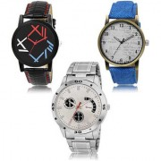 MACRON W-475 Latest Designed Stylish Watch Combo Watch Black White Dial And Black Blue Silver belt Watch Pack of 3