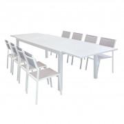 Milani Home DEXTER - set tavolo giardino rettangolare allungabile 200/300 x 100 con 8 sedie in alluminio bianco e textilene da esterno