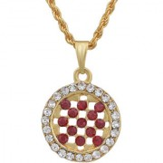 MissMister Gold Plated Round Shape Garnet Red CZ and White CZ Fashion Chain Pendant Women Stylish Latest