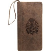 Kan New Year Gift-Premium Quality Hunter Leather Travel Document Holder/Cheque Book Holder with 3 Passports(Brown)