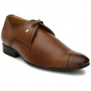 El Paso Mens Tan Synthetic Leather Formal Lace Up Shoes