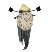 [en.casa]® Nástěnné hodiny ve tvaru motocyklu - analogové - 47 x 5,5 x 56 cm - barevné