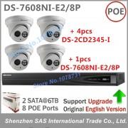 Surveillance Kits Hikvision NVR 8CH 8 ports POE DS-7608NI-E2/8P + 4pcs Hikvision DS-2CD2345-I 4MP IP Camera Surveillance Camera