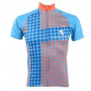 【セール実施中】【送料無料】半袖ジャージ 千鳥格子チェレステ ユニセックス 半袖ジャージ 自転車ウエア kphs017