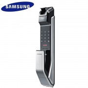 Samsung SHS-P718 Fingerprit Digital Door Lock Push Pull ENGLISH Version Big Mortise Silver Color Promotion