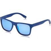 Lacoste L816S anteojos de sol rectangulares para hombre, Azul mate, 54 mm