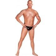 Bikini latex cu dop anal intern M negri
