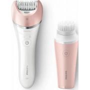 Epilator Satinelle Advanced BRP545/00 cu perie de curatare faciala Alb/Roz