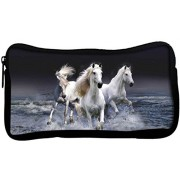 Snoogg White Horses Poly Canvas Student Pen Pencil Case Coin Purse Utility Pouch Cosmetic Makeup Bag