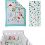 Спален комплект от 3 части за бебешка кошара Joy line, toTs, бухалче, 011214