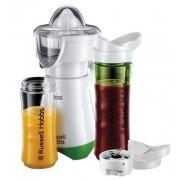 Blender cu storcator de citrice Russell Hobbs Mix & Go Juice 21352-56, 300 W, 2 sticle, 2 conuri (Alb/Verde)