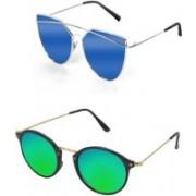 shadz Butterfly, Round Sunglasses(Blue, Green)