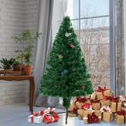 HomCom® Árvore de Natal 120cm Artificial Árvore com Suporte Metálico Luzes LED
