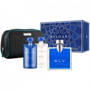 Blu pour homme - Bulgari confezione regalo profumo 100 ml EDT SPRAY + shower gel 75 ml + after shave balm 75 ml + pochette