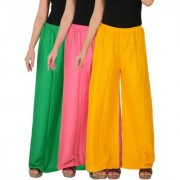 Culture the Dignity Women's Rayon Solid Palazzo Pants Palazzo Trousers Combo of 3 - Green - Baby Pink - Yellow - C_RPZ_GP2Y - Pack of 3 - Free Size