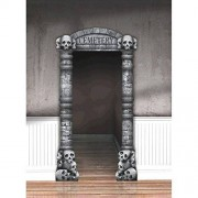 amscan Creepy Cemetery Halloween Party Doorway Entry Decoration, Grey, 84 3/4 x 45 by