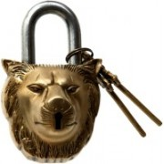 Aesthetic Decors Lion Face Design Safety Lock(Gold)