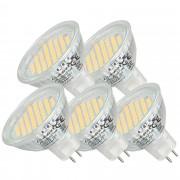 [lux.pro]® Set de 5 bombillas SMD Spots [MR16 GU5.3] [8-16V CA/CC] [luz blanca cálida] 54SMD luz de bajo consumo - foco empotrable