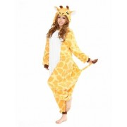 Vegaoo Giraffe Kigurumi-Kostüm für Erwachsene gelb-weiss