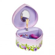 JewelKeeper Heart Shaped Music Jewelry Box with Dancing Fairy, Flower Design, Waltz of the Flowers Tune