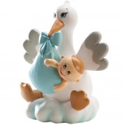 Figurina tort botez barza scutec baietel