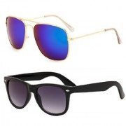HH Rectangular Blue Mirrored Sunglass With Free Uv Protected Black Wayfarer Sunglass For Unisex.