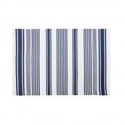 Maisons du Monde Alfombra de exterior color crudo con motivos decorativos de rayas azules 120x180