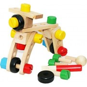 Toys of Wood Oxford Wooden Nut and Bolt Building Blocks Construction Kit 30 Pieces with a bag- Large size