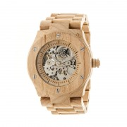 Earth Wood Grand Mesa Automatic Skeleton Bracelet Watch - Khaki/Tan ETHEW3101