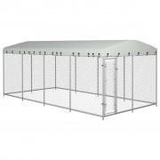 vidaXL Chenil extérieur avec toit pour chiens 8 x 4 x 2 m