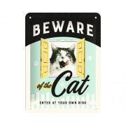 Panou decorativ din tabla Beware of the Cat 15x20 cm