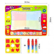 """Aqua Doodle Mat, 4 Color Large Water Drawing Pad ,3 big Magic Pens and 1 drawing molds for Boy Girl AquaDoodle Educational Gift Size 31.5"""" x 23.6"""" in"""