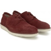Clarks Fayeman Lace Red Suede Casual For Men(Maroon)