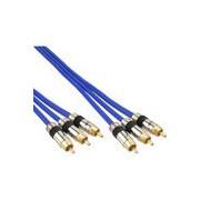 InLine Cinch Kabel AUDIO/VIDEO, PREMIUM, vergoldete Stecker, 3x Cinch Stecker / Stecker, 10m