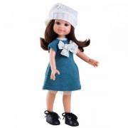 Papusa Cleo in rochie tricotata albastru-petrol - Paola Reina