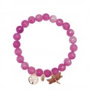 CO88 Armband met bedels levensboom/libelle rosé/roze 8CB-90005