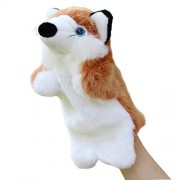 SUNONE11 Baby Kids Cute Fox Hand Puppet Animal Story Telling Prop Easily Animate Play Glove Soft Fur Tails Doll Plush Toy