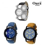 Oura Analog Casual And Sport Wear Dual Time And Triple Time Watch With Two Onther Men's Watch (Combo of 3Pcs)