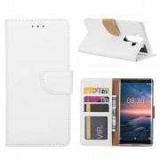 Luxe Lederen Bookcase hoesje voor de Nokia 8 Sirocco - Wit
