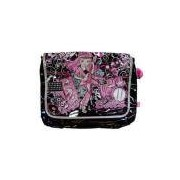 Bolsa De Ombro Rock And Roll Preto Com Rosa Sb060